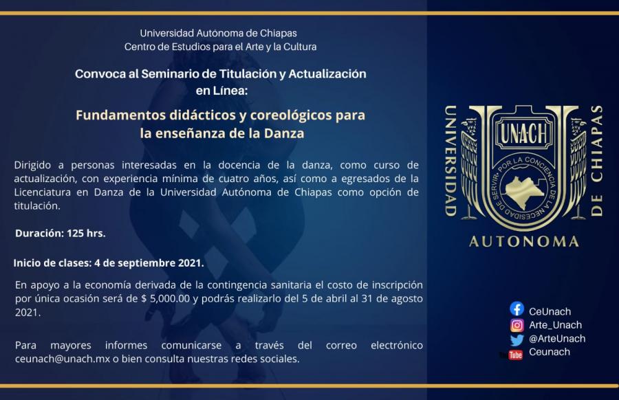 Seminario de Titulación y Actualización en Linea: Fundamentos Didácticos y Coreológicos para la enseñanza de la Danza