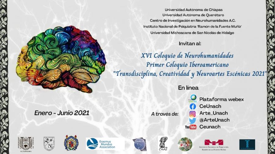 XVI Coloquio de Neurohumanidades; Primer coloquio Iberoamericano  Transdisciplina, Creatividad y Neuroartes Escénicas 2021.